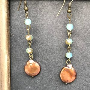 Earrings. Blue beads with copper pendant